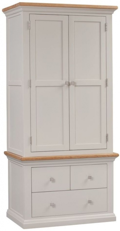 Homestyle GB Cotswold Oak and Painted 2 Door 3 Drawer Wardrobe