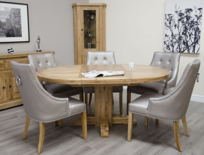 Homestyle GB Deluxe Oak Round Extending Dining Set and 6 Marjukka Stone Chairs