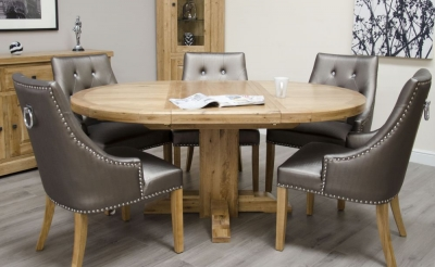 Homestyle GB Deluxe Oak Round Extending Dining Set and 6 Marjukka Tungsten Chairs