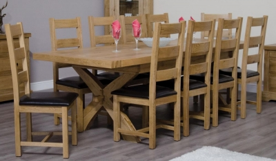Homestyle GB Deluxe Oak Large Extending Dining Set and 10 Ladder Back Chairs