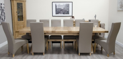 Homestyle GB Deluxe Oak Super Cross Leg Extending Dining Set with 10 Wave Mushroom Chairs