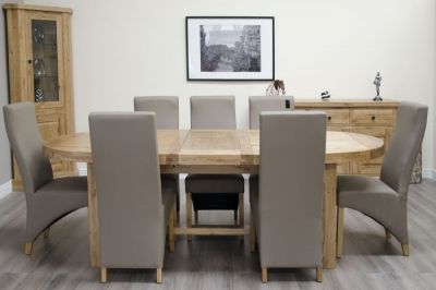Homestyle GB Deluxe Oak Super Oval Extending Dining Set and 8 Wave Mushroom Chairs