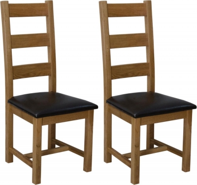 Homestyle GB Deluxe Oak Ladder Back Dining Chair (Pair)