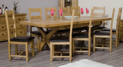 Homestyle GB Deluxe Oak Cross Leg Twin Leaf Extending Dining Set and 10 Ladder Back Chairs