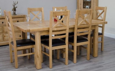 Homestyle GB Deluxe Oak Small Extending Dining Set and 6 Cross Back Chairs