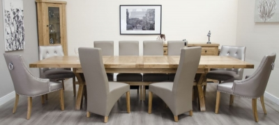 Homestyle GB Deluxe Oak Super Cross Leg Extending Dining Set with 10 Wave Mushroom and Marjukka Stone Chairs