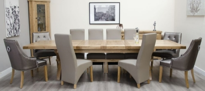 Homestyle GB Deluxe Oak Super Cross Leg Extending Dining Set with 10 Wave Mushroom and Marjukka Tungsten Chairs
