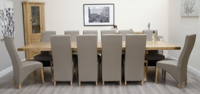 Homestyle GB Deluxe Oak Super Cross Leg Rectangular Extending Dining Set and 12 Wave Mushroom Chairs