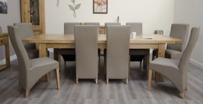 Homestyle GB Deluxe Oak Cross Leg Twin Leaf Rectangular Extending Dining Set with 10 Wave Mushroom Chairs