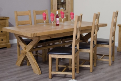 Homestyle GB Deluxe Oak Cross Leg Twin Leaf Extending Dining Set and 6 Ladder Back Chairs