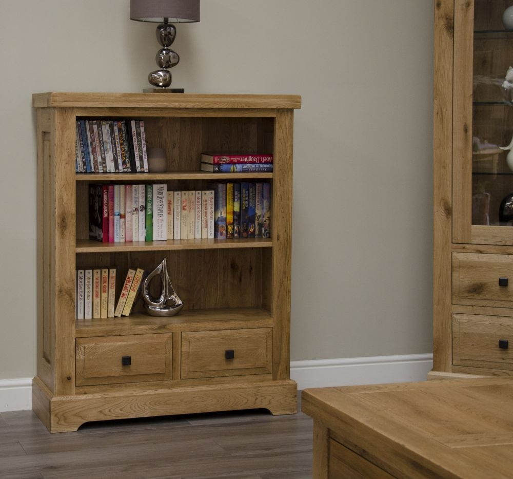 Homestyle GB Deluxe Oak 2 Drawer Small Bookcase