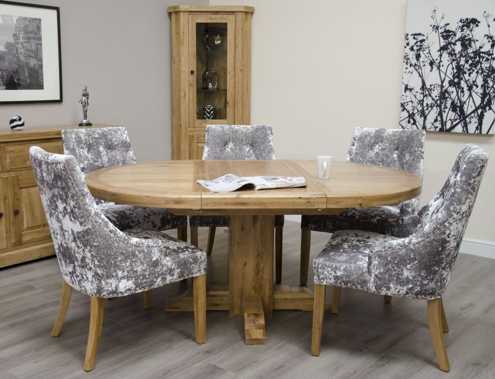 Homestyle GB Deluxe Oak Round Extending Dining Set and 6 Bergen Silver Chairs