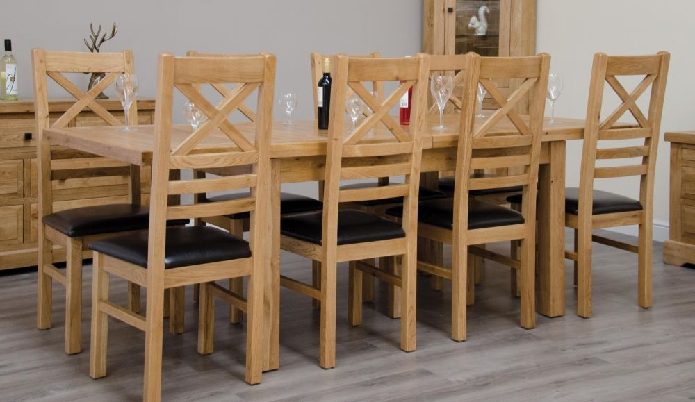 Homestyle GB Deluxe Oak Extending Dining Set and 8 Cross Back Chairs
