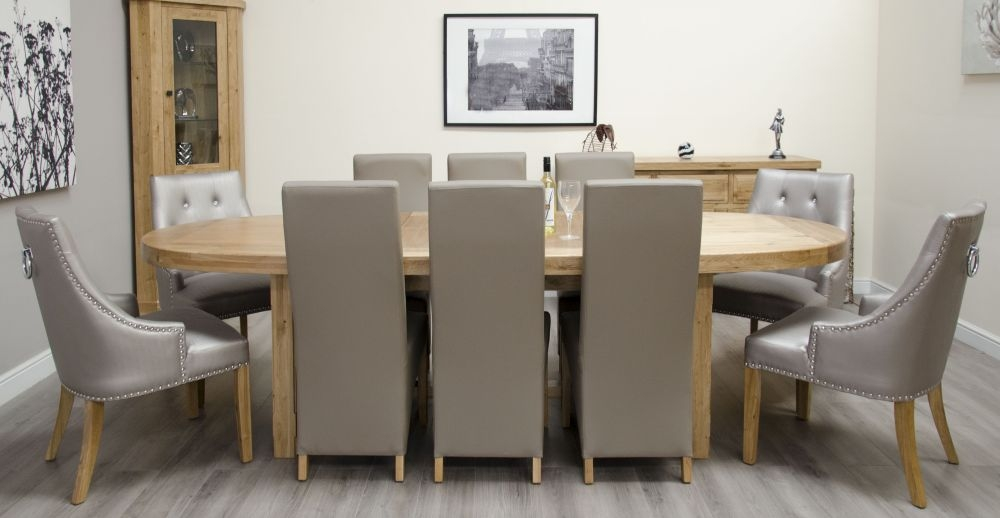 Homestyle GB Deluxe Oak Super Oval Extending Dining Set with 6 Wave Mushroom and 4 Marjukka Stone Chairs