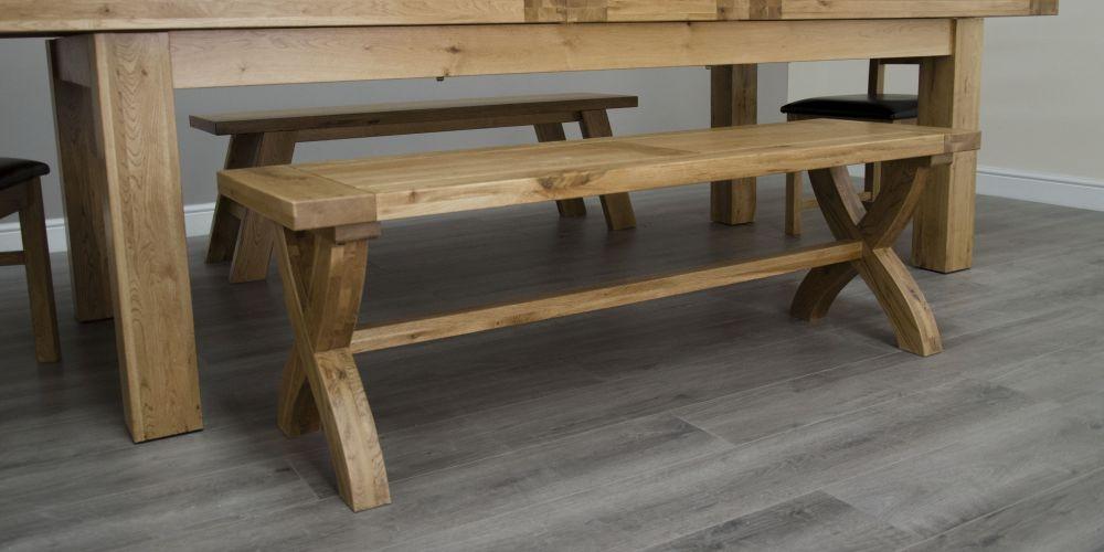 Homestyle GB Deluxe Oak Cross Leg Dining Bench