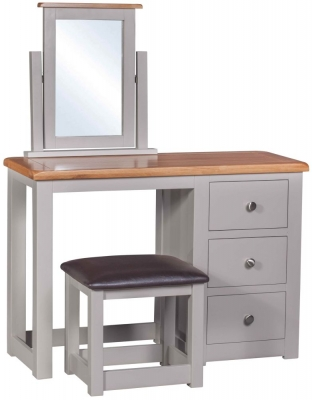 Homestyle GB Diamond Painted Single Pedestal Dressing Table with Stool