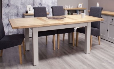 Homestyle GB Diamond Painted Large Extending Dining Set with 4 Italia Charcoal Chairs