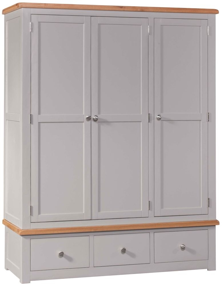 Homestyle GB Diamond Painted 3 Door 3 Drawer Wardrobe