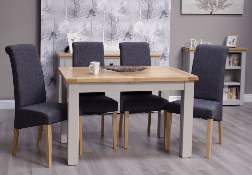 Homestyle GB Diamond Painted Small Extending Dining Set with 4 Italia Charcoal Chairs