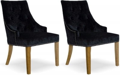 Homestyle GB Bergen Dining Chair (Pair) - Black Crushed Velvet