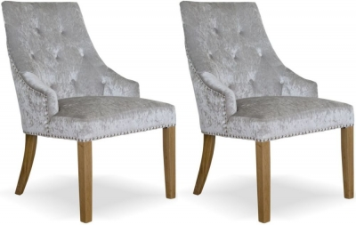 Homestyle GB Bergen Dining Chair (Pair) - Silver Crushed Velvet
