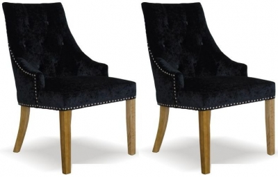 Homestyle GB Bergen Crushed Velvet Dining Chair - Black (Pair)