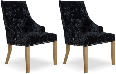 Homestyle GB Bergen Dining Chair (Pair) - Black Deep Crushed Velvet