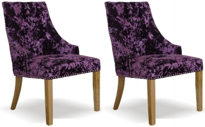 Homestyle GB Bergen Deep Crushed Velvet Dining Chair - Purple (Pair)