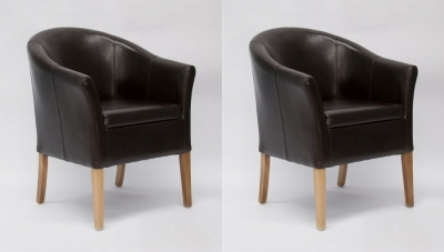Homestyle GB Tub Chair (Pair) - Brown Bycast Leather