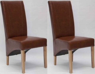 Homestyle GB Contempo Bonded Leather Dining Chair - Tan (Pair)