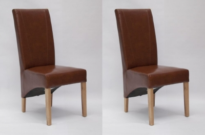 Homestyle GB Contempo Dining Chair (Pair) - Tan Bonded Leather
