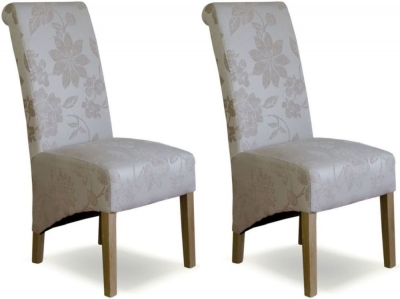 Homestyle GB Richmond Dining Chair (Pair) - Floral Cream Fabric