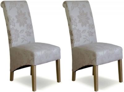 Homestyle GB Richmond Dining Chair (Pair) - Floral Cream Fabric