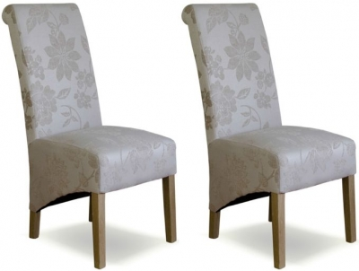 Homestyle GB Floral Fabric Richmond Dining Chair - Cream (Pair)