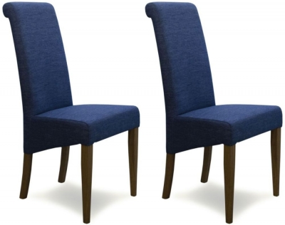 Homestyle GB Italia Dining Chair (Pair) - Denim Blue Fabric