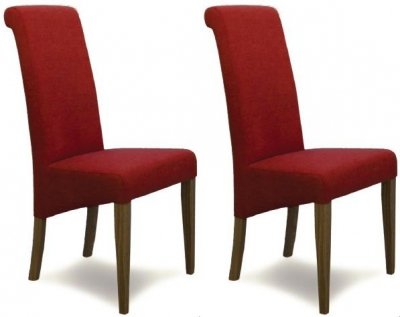 Homestyle GB Italia Fabric Dining Chair - Chilli (Pair)