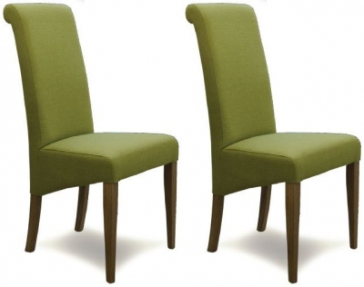 Homestyle GB Italia Fabric Dining Chair - Lime (Pair)