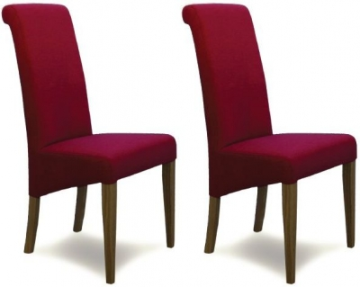 Homestyle GB Italia Fabric Dining Chair - Lipstick (Pair)
