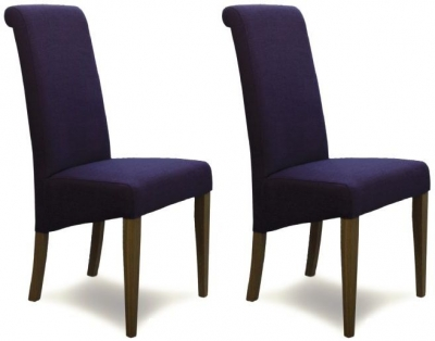 Homestyle GB Italia Fabric Dining Chair - Purple (Pair)