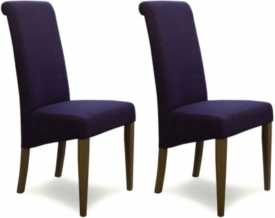 Homestyle GB Italia Dining Chair (Pair) - Purple Fabric