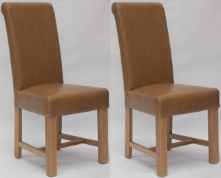 Homestyle GB Louisa Bycast Leather Dining Chair - Tan (Pair)