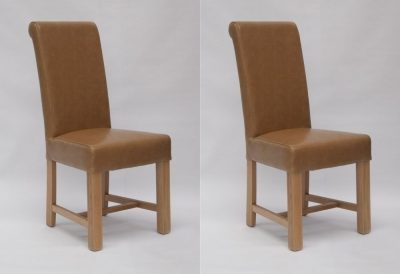 Homestyle GB Louisa Dining Chair (Pair) - Tan Bycast Leather