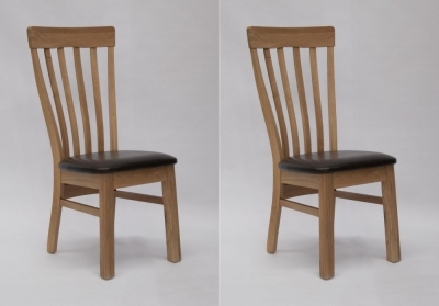 Homestyle GB Lucia Dining Chair (Pair) - Oak and Dark Brown Leather