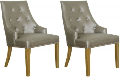 Homestyle GB Marjukka Botton and Knockerback Dining Chair (Pair) - Stone Crystal