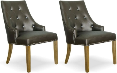 Homestyle GB Marjukka Botton and Knockerback Dining Chair (Pair) - Tungsten Crystal