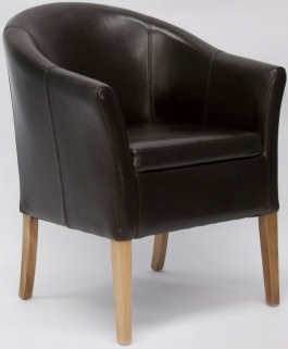 Homestyle GB Opus Bycast Leather Tub Chair - Brown