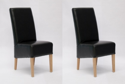 Homestyle GB Oslo Dining Chair (Pair) - Black Bycast Leather