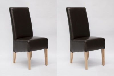 Homestyle GB Oslo Dining Chair (Pair) - Brown Bycast Leather