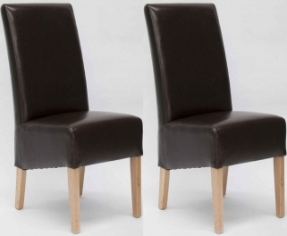 Homestyle GB Oslo Bycast Leather Dining Chair - Brown (Pair)