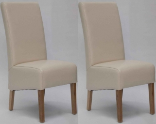 Homestyle GB Oslo Bycast Leather Dining Chair - Ivory (Pair)